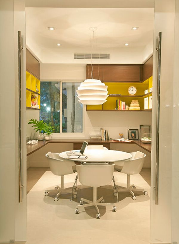 Home-office-space-for-entire-family-with-warm-hues-and-translucent-doors