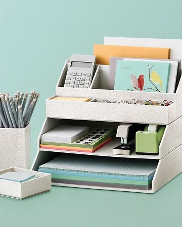 Organizador de objetos feitos com caixas