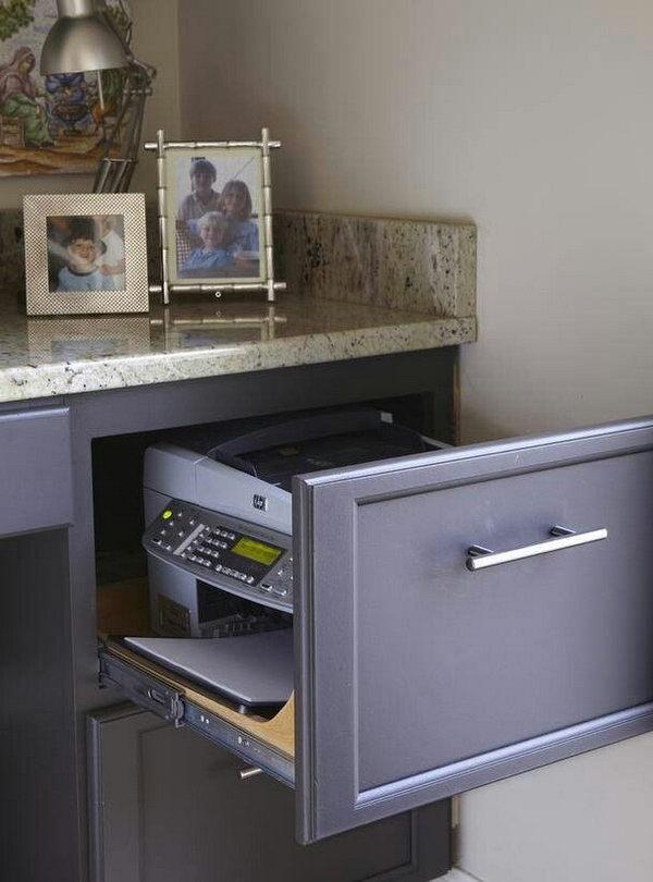 Impressora embutida em gaveta de arquivos